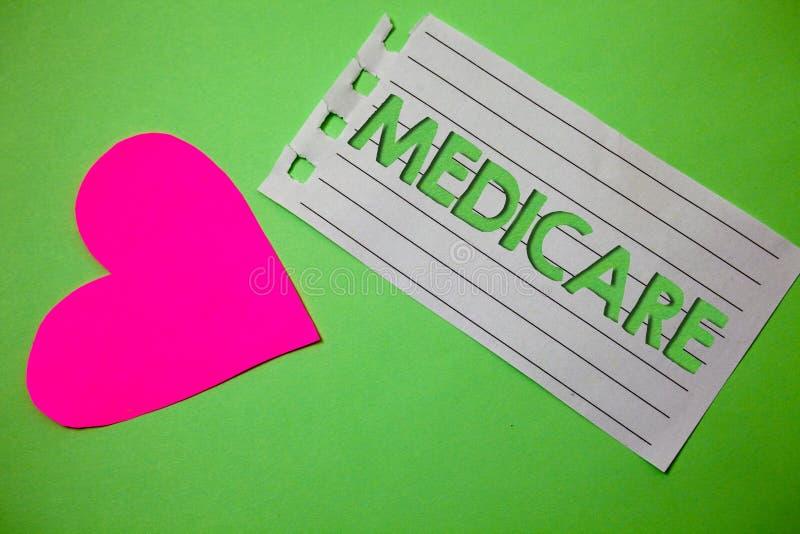 Εννοιολογικό χέρι που γράφει παρουσιάζοντας Medicare Επιχειρησιακή φωτογραφία που επιδεικνύει την ομοσπονδιακή ασφάλεια υγείας γι στοκ εικόνες