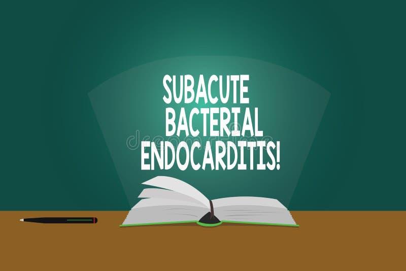 Εννοιολογικό χέρι που γράφει παρουσιάζοντας Subacute βακτηριακό Endocarditis Μόλυνση επίδειξης επιχειρησιακών φωτογραφιών της εσω απεικόνιση αποθεμάτων