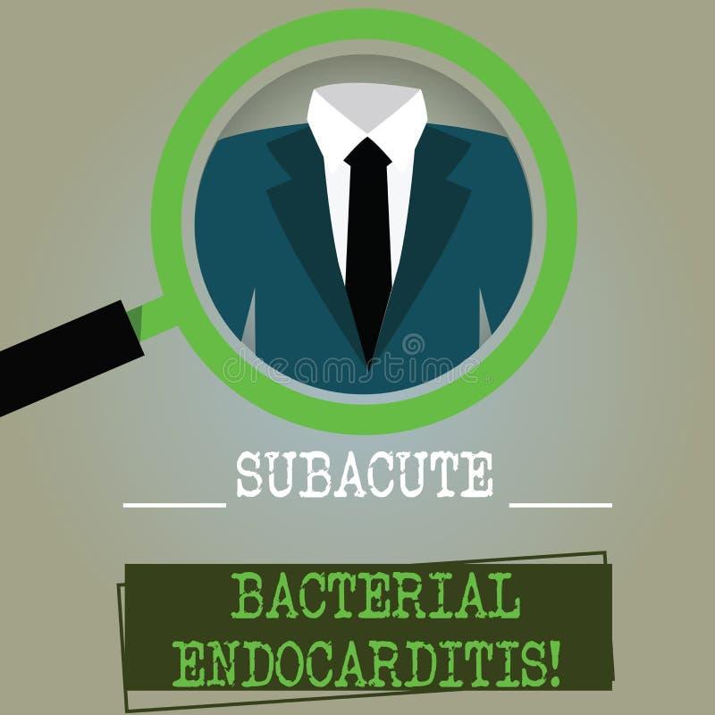 Εννοιολογικό χέρι που γράφει παρουσιάζοντας Subacute βακτηριακό Endocarditis Μόλυνση κειμένων επιχειρησιακών φωτογραφιών της εσωτ απεικόνιση αποθεμάτων