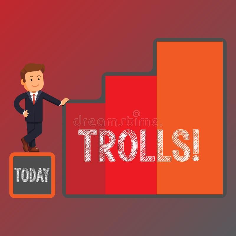 Εννοιολογικό χέρι που γράφει παρουσιάζοντας Trolls Επιχειρησιακή φωτογραφία που επιδεικνύει τους σε απευθείας σύνδεση ταραχοποιού ελεύθερη απεικόνιση δικαιώματος