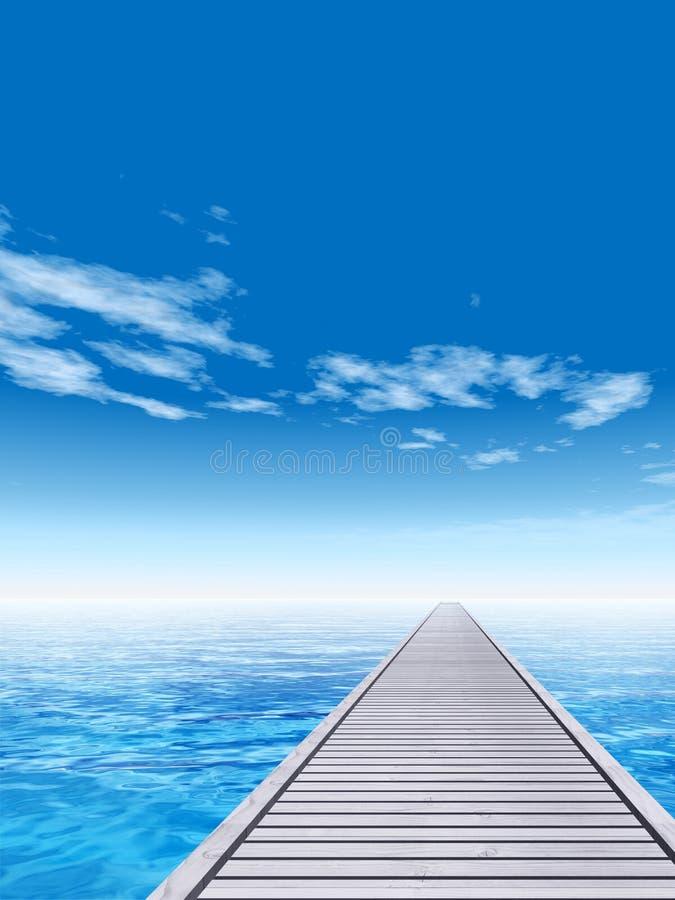 Εννοιολογική ξύλινη αποβάθρα γεφυρών στο θαλάσσιο νερό απεικόνιση αποθεμάτων