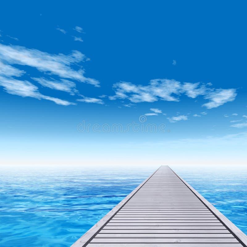 Εννοιολογική ξύλινη αποβάθρα γεφυρών στο θαλάσσιο νερό ελεύθερη απεικόνιση δικαιώματος