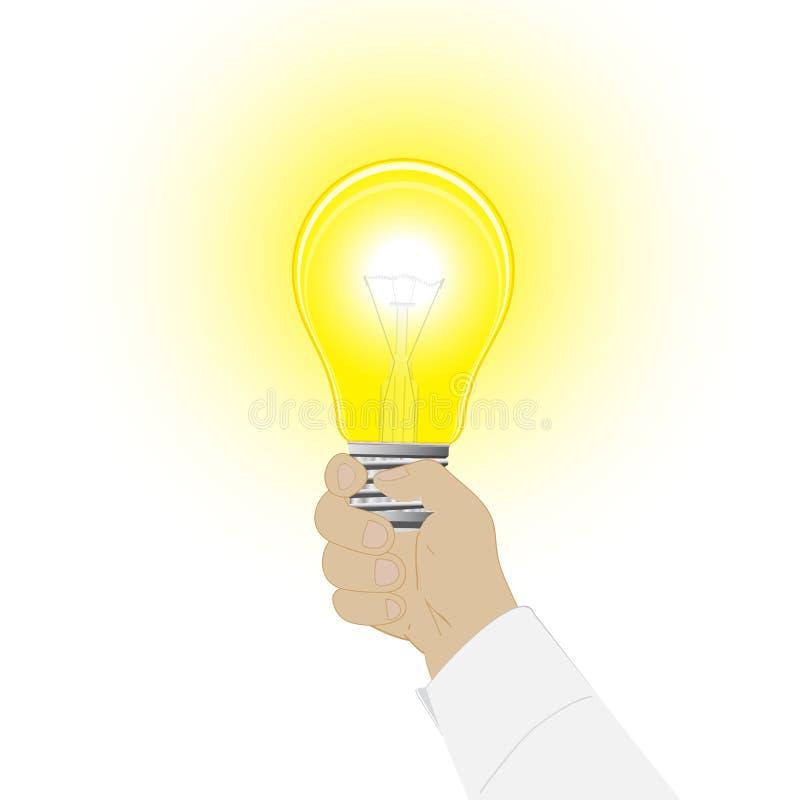 Εννοιολογικό διανυσματικό εικονίδιο μια λάμπα φωτός σε ένα χέρι του ατόμου ελεύθερη απεικόνιση δικαιώματος