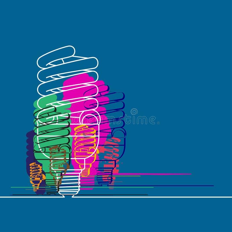 Εννοιολογικό μπλε υπόβαθρο με τους πολύχρωμους ελαφριούς λαμπτήρες ελεύθερη απεικόνιση δικαιώματος