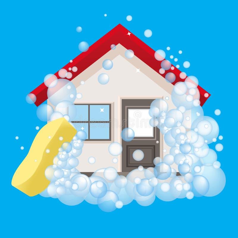 Εννοιολογικό λογότυπο και η αφίσα για τον καθαρισμό Το σπίτι στον αφρό διανυσματική απεικόνιση