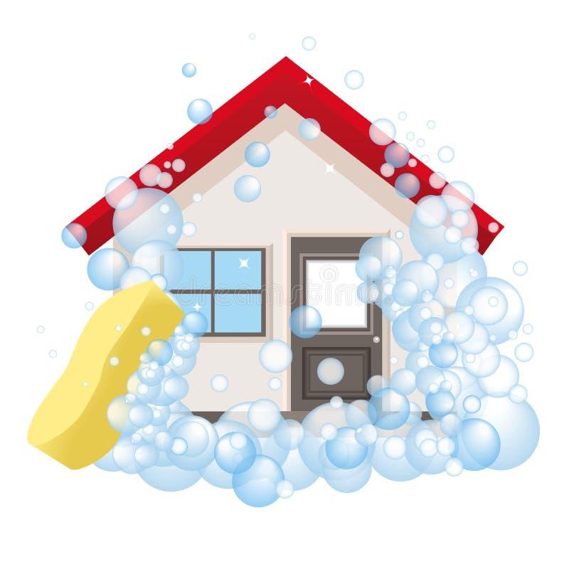 Εννοιολογικό λογότυπο και η αφίσα για τον καθαρισμό Το σπίτι στον αφρό ελεύθερη απεικόνιση δικαιώματος
