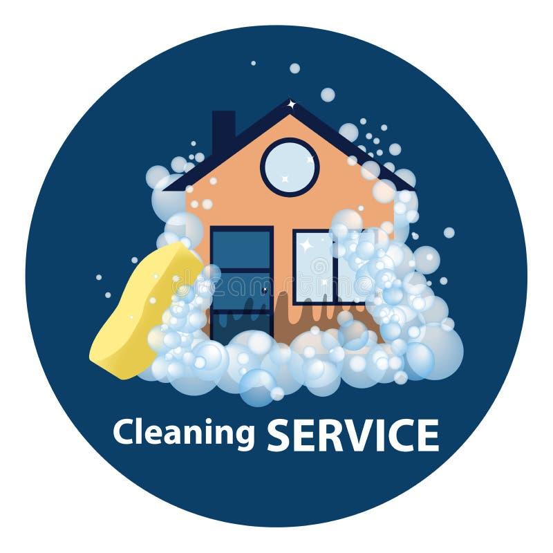 Εννοιολογικό λογότυπο και η αφίσα για τον καθαρισμό Servi καθαρισμού σημαδιών διανυσματική απεικόνιση