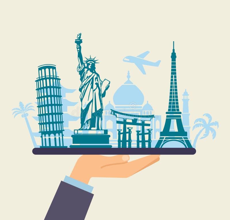 Εννοιολογικό σύμβολο του ταξιδιού σε όλο τον κόσμο διανυσματική απεικόνιση