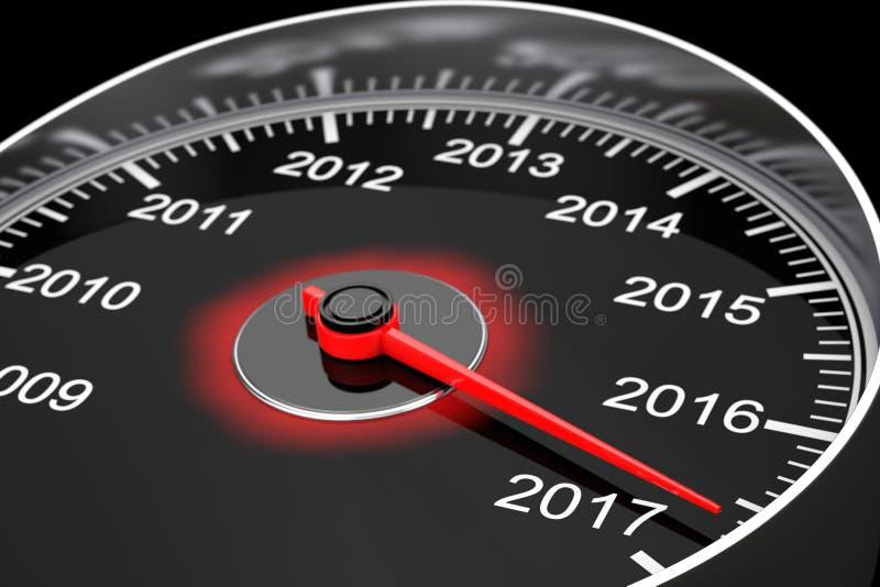 Εννοιολογικό ταχύμετρο έτους του 2017 νέο τρισδιάστατη απόδοση ελεύθερη απεικόνιση δικαιώματος