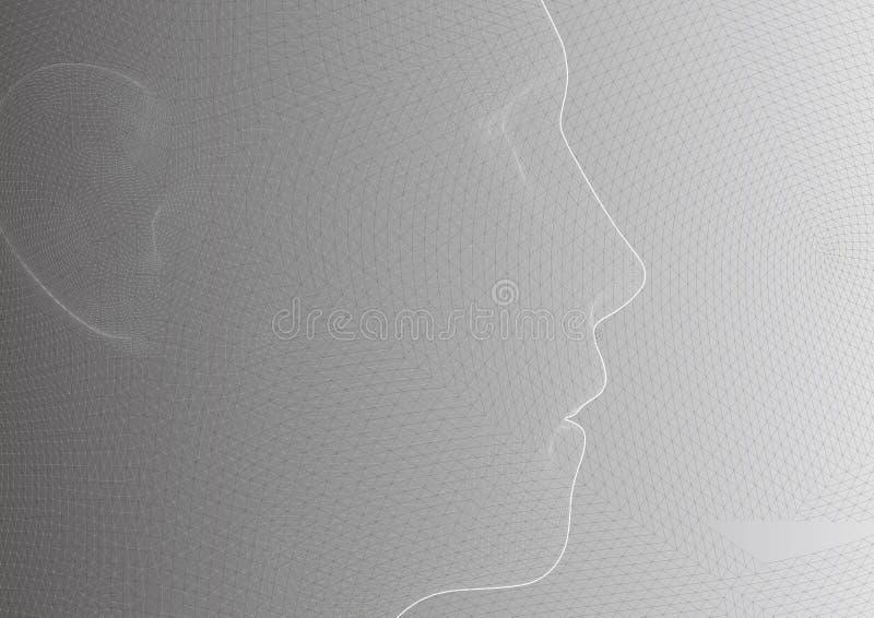 Εννοιολογικό τρισδιάστατο ανθρώπινο αρσενικό κεφάλι πλαισίων καλωδίων απεικόνιση αποθεμάτων