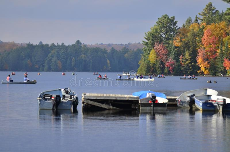 Ενοίκιο κανό στη λίμνη φθινοπώρου Algonquin στο πάρκο στοκ εικόνα