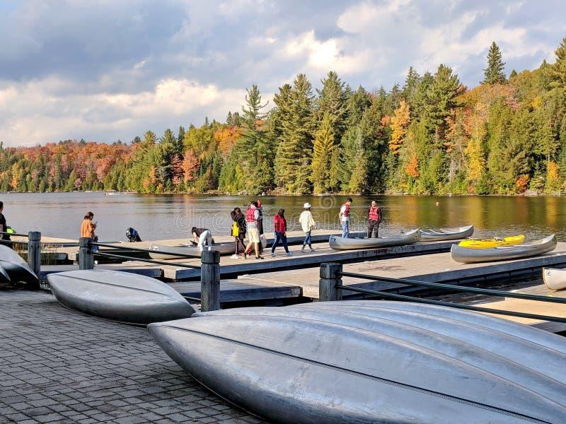 Ενοίκιο κανό στη λίμνη φθινοπώρου Algonquin στο πάρκο στοκ εικόνες με δικαίωμα ελεύθερης χρήσης