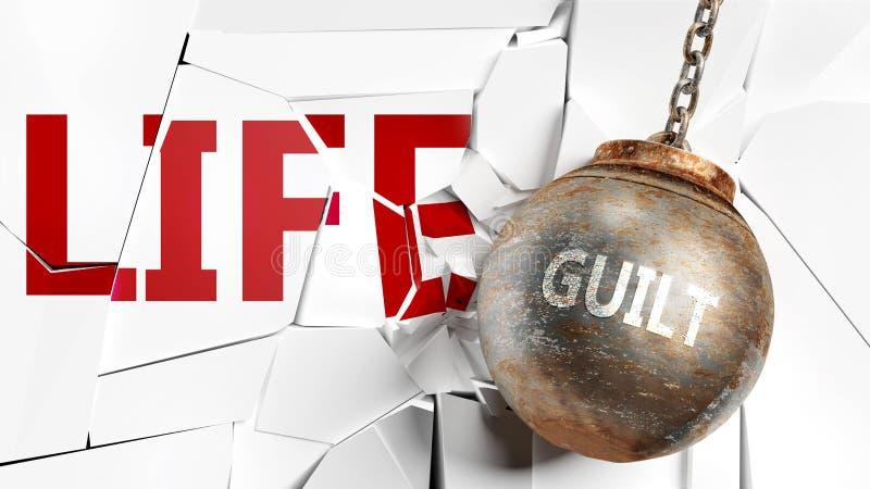 Ενοχή και ζωή - απεικονίζονται ως μια λέξη ενοχή και μια μπάλα ναυαγίου για να συμβολίσουν ότι η ενοχή μπορεί να έχει κακό αποτέλ ελεύθερη απεικόνιση δικαιώματος