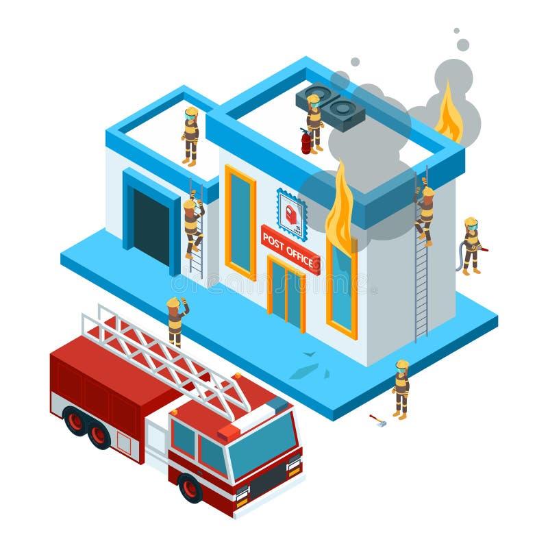 Ενσωματώνοντας τη φλόγα isometric Οι πυροσβέστες στην εργασία εξαφανίζουν την πυρκαγιά από τη μάνικα στο κόκκινο μεγάλο διάνυσμα  διανυσματική απεικόνιση