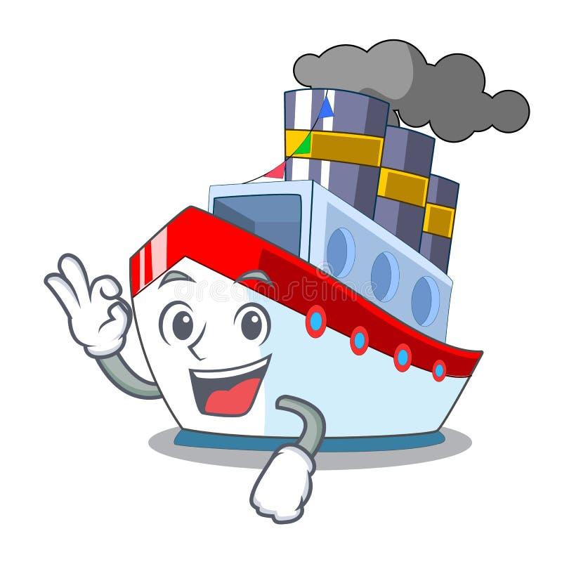 Εντάξει κεραία κατά την άποψη φορτηγών πλοίων κινούμενων σχεδίων ελεύθερη απεικόνιση δικαιώματος