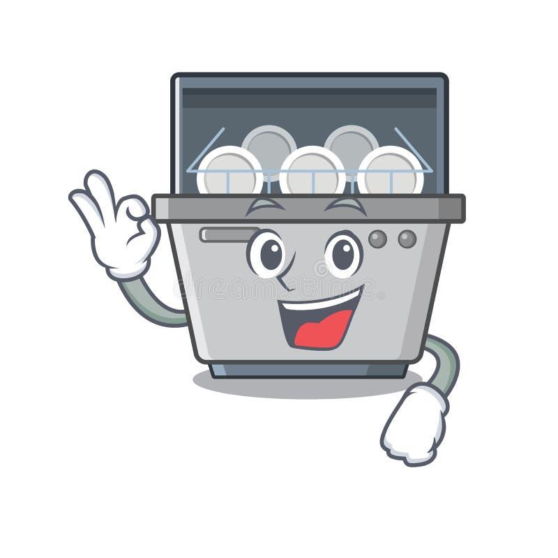 Εντάξει μηχανή πλυντηρίων πιάτων που απομονώνεται στα κινούμενα σχέδια διανυσματική απεικόνιση