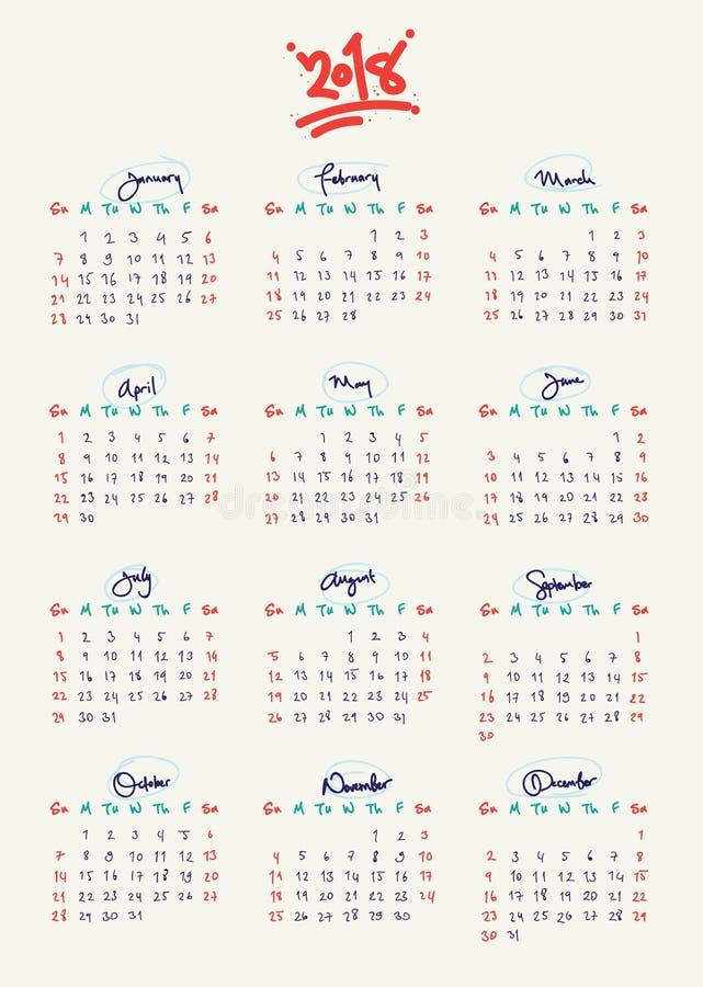 Εντελώς χέρι γραπτό, ημερολόγιο συνήθειας 2018 ελεύθερη απεικόνιση δικαιώματος