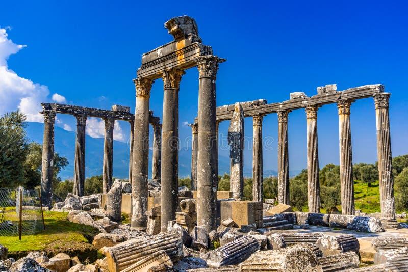 Εντυπωσιακός ναός Zeus Lepsinos Αρχαία πόλη Euromos Euromus, Milas, Mugla, Τουρκία στοκ εικόνες