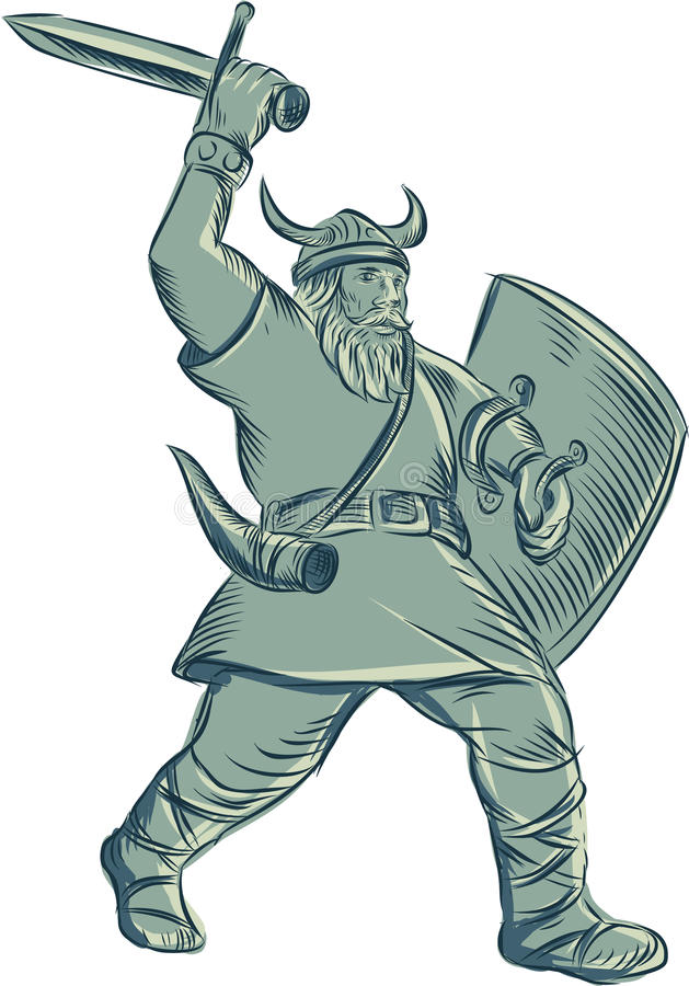 Εντυπωσιακό ξίφος χαρακτική πολεμιστών Βίκινγκ απεικόνιση αποθεμάτων