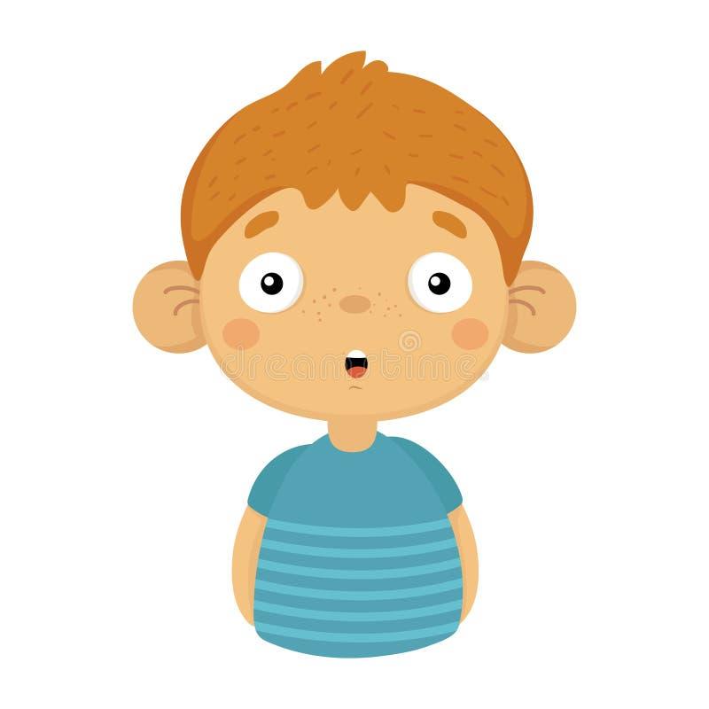 Εντυπωσιασμένο και έκπληκτο χαριτωμένο μικρό αγόρι με τα μεγάλα αυτιά στην μπλε μπλούζα, πορτρέτο Emoji ενός αγοριού με συναισθημ διανυσματική απεικόνιση