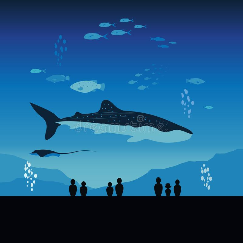 Ενυδρείο της Ιαπωνίας και υποβρύχιο θαλάσσιο σύνολο ζωής απεικόνιση αποθεμάτων