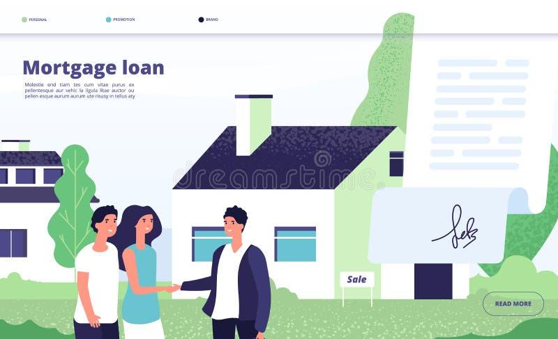 Ενυπόθηκο δάνειο Ο οφειλέτης ανθρώπων αγοράζει την εγχώρια ιδιοκτησία με την πίστωση τραπεζών Νέο ζεύγος με το μεσίτη, ιδιωτικός  διανυσματική απεικόνιση
