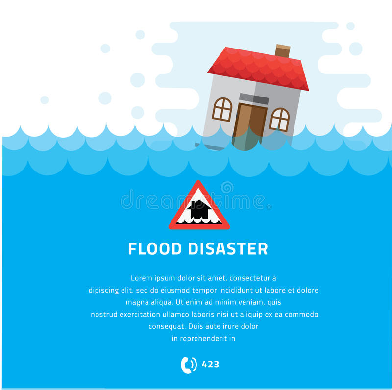 Ενυδάτωση οικοδόμησης κάτω από τη διανυσματική απεικόνιση καταστροφής πλημμυρών διανυσματική απεικόνιση