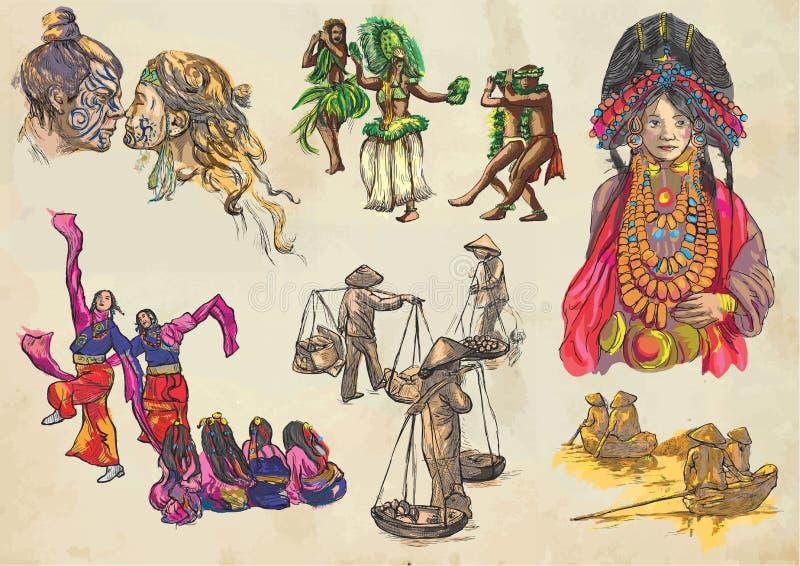 Ενωμένα χρώματα της ανθρώπινης φυλής, άνθρωποι - ένα συρμένο χέρι διανυσματικό σύνολο απεικόνιση αποθεμάτων