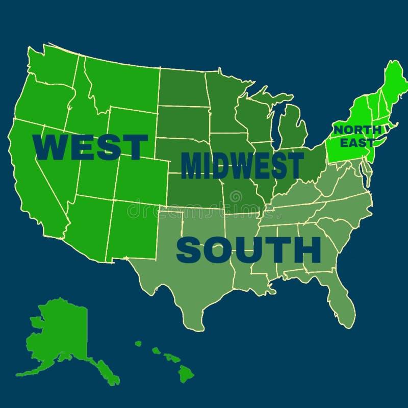 Ενωμένη κατάσταση του χάρτη περιοχών της Αμερικής απεικόνιση αποθεμάτων