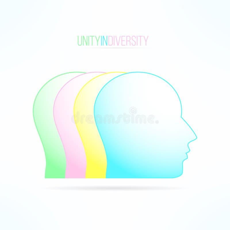 Ενότητα στην έννοια ποικιλομορφίας άνθρωποι που ενώνονται Ποικιλομορφία γνωμών και απόψεων Ζωηρόχρωμο στοιχείο σχεδίου εργασίας ο ελεύθερη απεικόνιση δικαιώματος