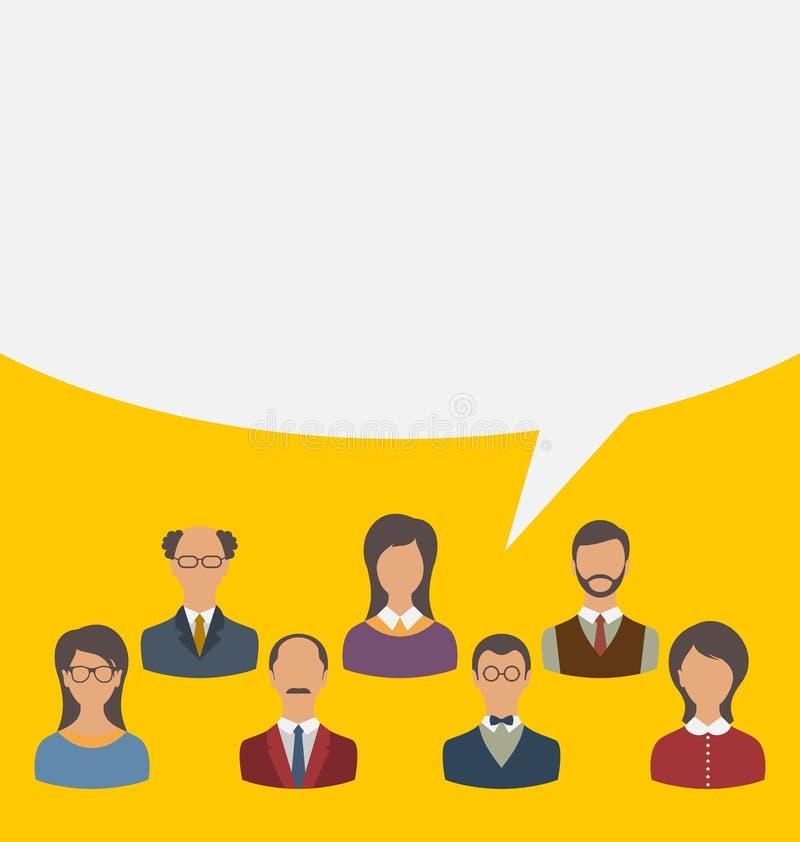 Ενότητα της ομάδας επιχειρηματιών με τη λεκτική φυσαλίδα, σύγχρονο επίπεδο ολοκληρωμένο κύκλωμα διανυσματική απεικόνιση