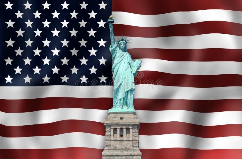 Ενώνει το άγαλμα κρατικών σημαιών της ελευθερίας στοκ φωτογραφίες