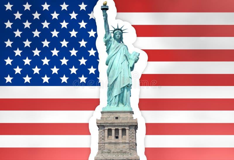 Ενώνει το άγαλμα κρατικών σημαιών της ελευθερίας στοκ εικόνα με δικαίωμα ελεύθερης χρήσης