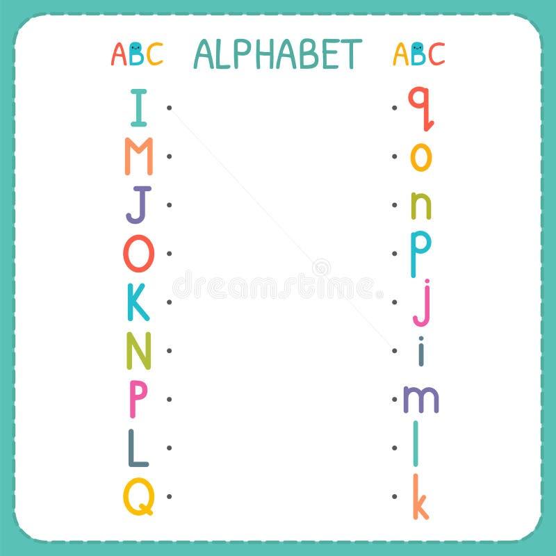 Ενώστε κάθε κεφαλαίο γράμμα με την πεζή επιστολή Από το Ι στο Q Φύλλο εργασίας για τον παιδικό σταθμό και τον παιδικό σταθμό Ασκή απεικόνιση αποθεμάτων