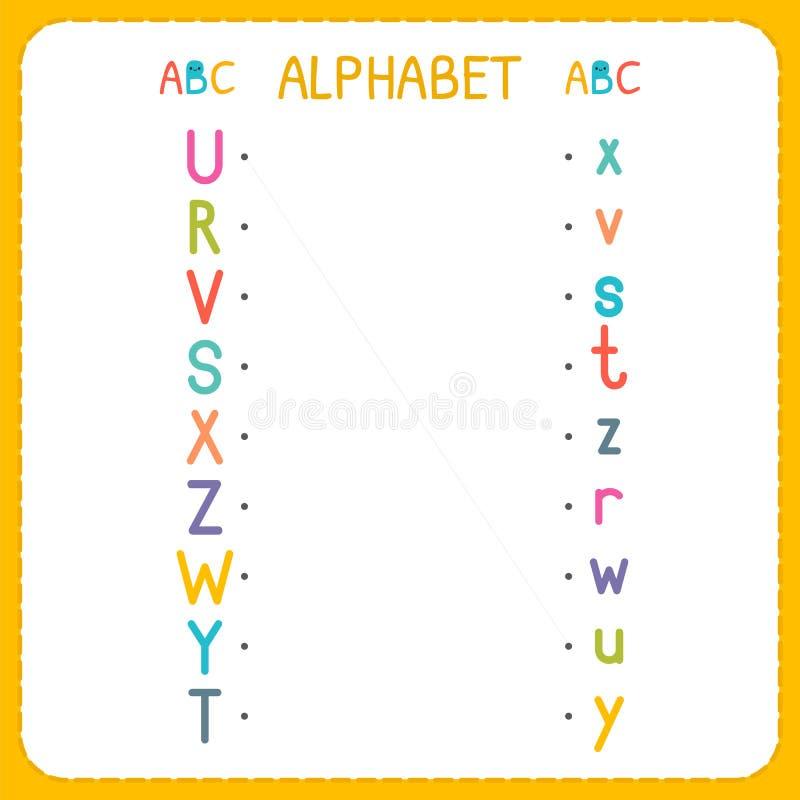 Ενώστε κάθε κεφαλαίο γράμμα με την πεζή επιστολή Από το Ρ στο Ζ Φύλλο εργασίας για τον παιδικό σταθμό και τον παιδικό σταθμό Ασκή διανυσματική απεικόνιση
