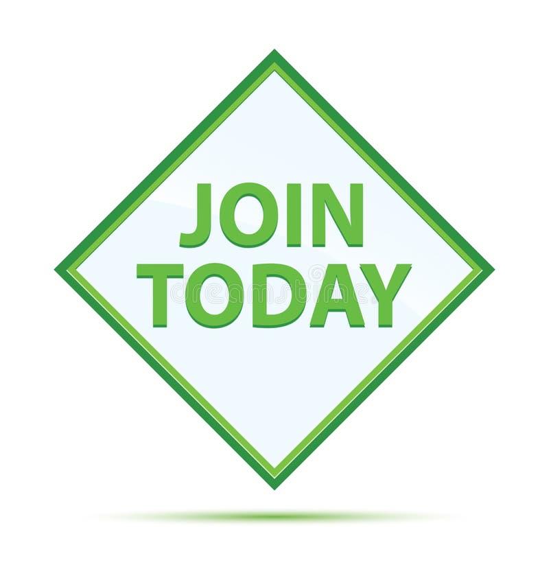 Ενώστε σήμερα το σύγχρονο αφηρημένο πράσινο κουμπί διαμαντιών ελεύθερη απεικόνιση δικαιώματος