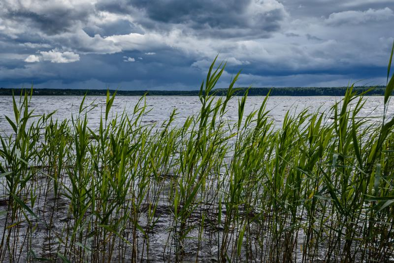 Ενώ η λίμνη είναι ήρεμη, αλλά thunderclouds θα φέρει τον αέρα και θα υπάρξει ένα υψηλό κύμα στοκ εικόνα με δικαίωμα ελεύθερης χρήσης
