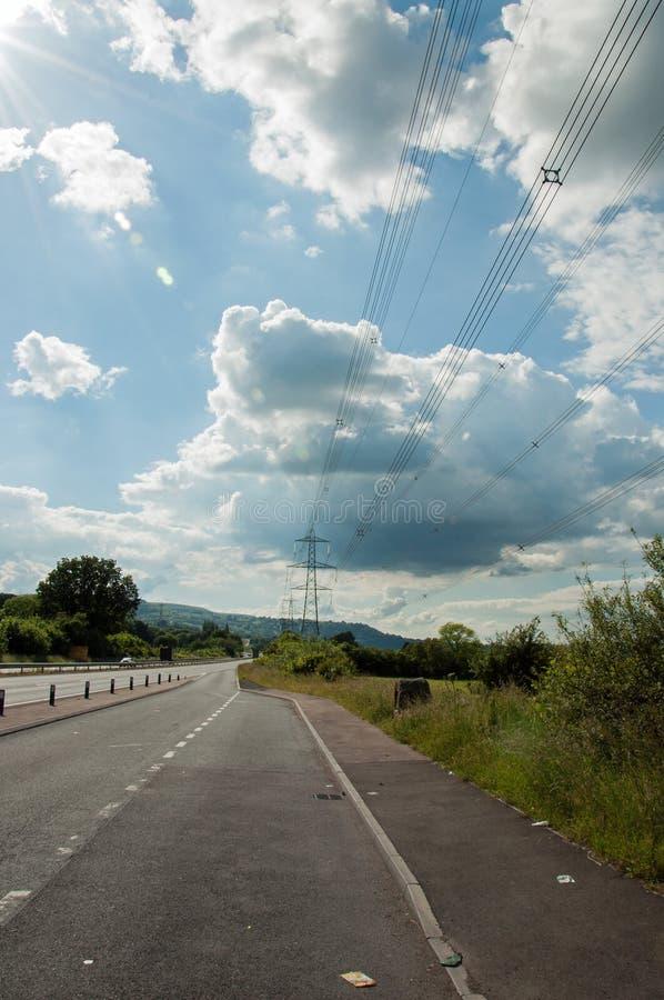 Ενδιάμεση στάση ακρών του δρόμου κατά μήκος του αυτοκινητόδρομου στη βρετανική επαρχία στοκ εικόνα