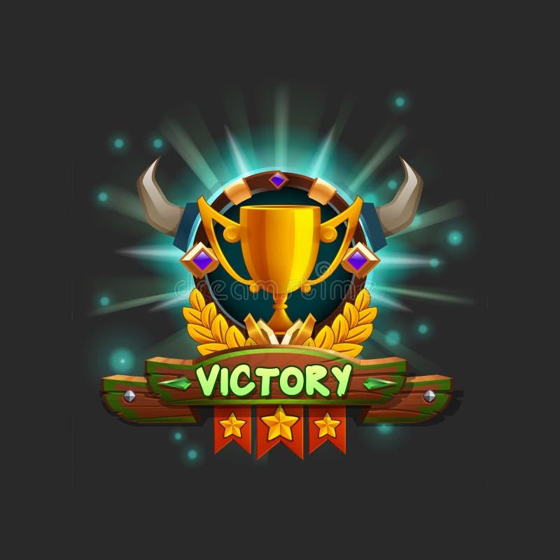 Ενδιάμεσο με τον χρήστη παραδείγματος του παιχνιδιού που λαμβάνει το επίτευγμα Νίκη παραθύρων με το χρυσό φλυτζάνι απεικόνιση αποθεμάτων