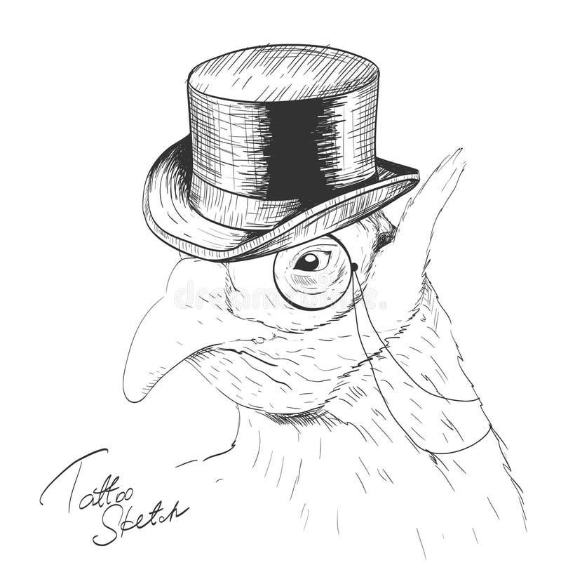 Ενδιαφέρον πουλί στο μαύρα τοπ καπέλο και το μονόκλ ελεύθερη απεικόνιση δικαιώματος