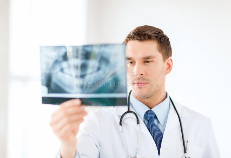 Ενδιαφερόμενος αρσενικός γιατρός ή οδοντίατρος που εξετάζει την ακτίνα X στοκ φωτογραφία