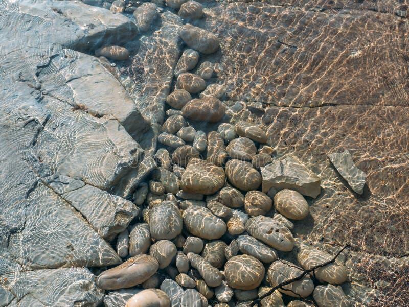 Εν πλω παραλία πετρών βράχου με τη σαφή σύσταση νερού, θερινό φυσικό υπόβαθρο στοκ εικόνα