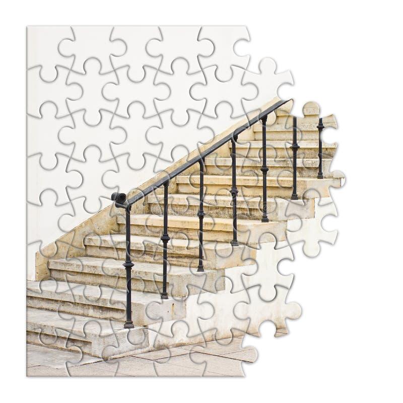 Εξάλειψη ή υπερνίκηση της αρχιτεκτονικής εικόνας έννοιας εμποδίων στη μορφή του γρίφου στοκ εικόνες