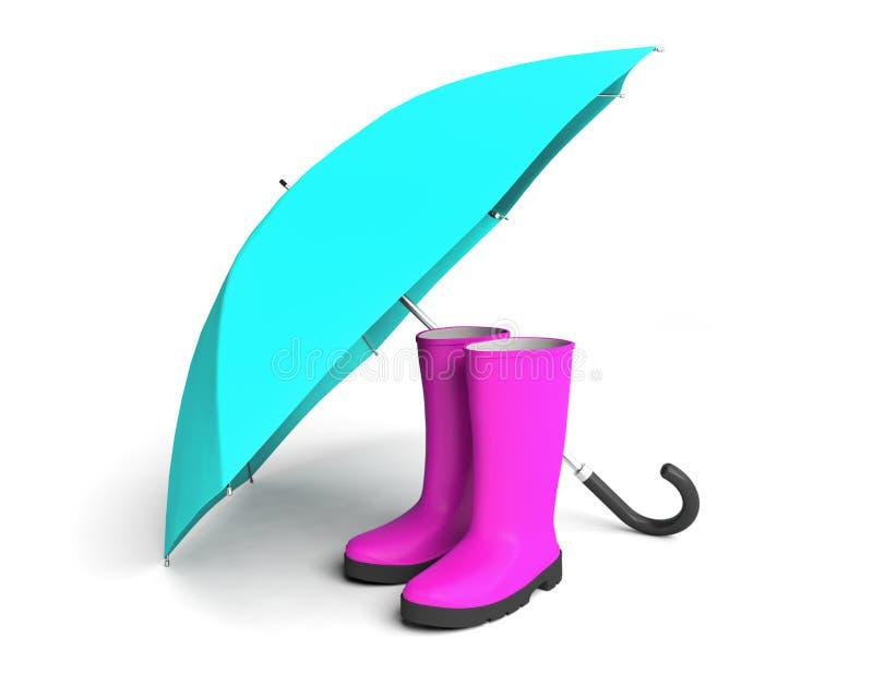 Εξάρτημα προστασίας ομπρελών μποτών βροχής gumboots διανυσματική απεικόνιση