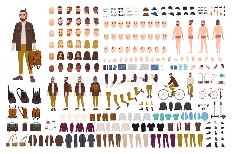 Εξάρτηση δημιουργιών Hipster Σύνολο επίπεδων αρσενικών μελών του σώματος χαρακτήρα κινουμένων σχεδίων, τύποι δερμάτων, του προσώπ διανυσματική απεικόνιση