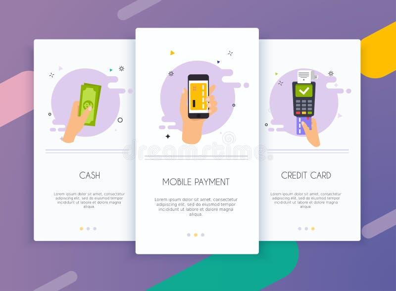 Εξάρτηση ενδιάμεσων με τον χρήστη οθονών Onboarding για την κινητή app έννοια προτύπων των μεθόδων πληρωμής Μετρητά, τραπεζικές ε ελεύθερη απεικόνιση δικαιώματος