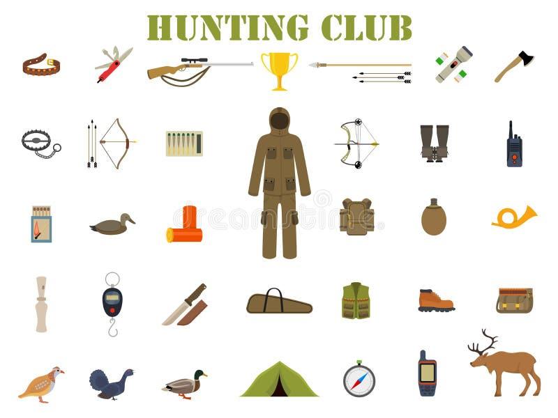 Εξάρτηση εξοπλισμού κυνηγιού με το τουφέκι, το μαχαίρι, το κοστούμι, το κυνηγετικό όπλο, τις μπότες, το δόλωμα, την προστασία και ελεύθερη απεικόνιση δικαιώματος