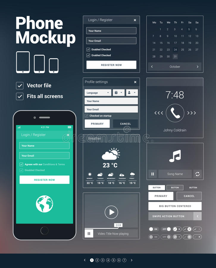 Εξάρτηση τηλεφωνικών UI στοιχείων για την κινητή ανάπτυξη apps ελεύθερη απεικόνιση δικαιώματος