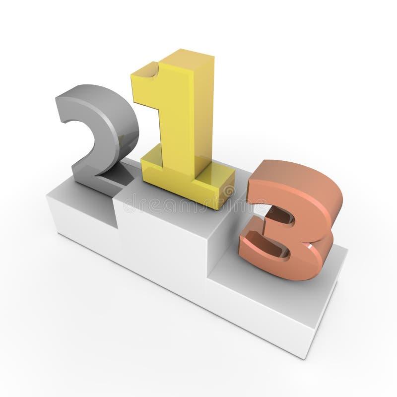 Εξέδρα νίκης - αριθμοί 1, 2, 3 διανυσματική απεικόνιση