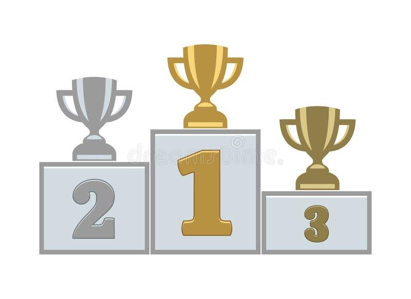 Εξέδρα νικητών με πρώτα, δεύτερες και τρίτες θέσεις troph διανυσματική απεικόνιση